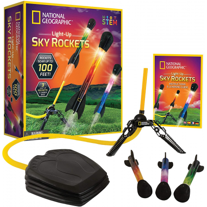 NATIONAL GEOGRAPHIC | Light Up Air Rockets (Rockets Soar up to 100 Feet!) | STEM Science Mechanics Educational Toys For Boys Girls Kids