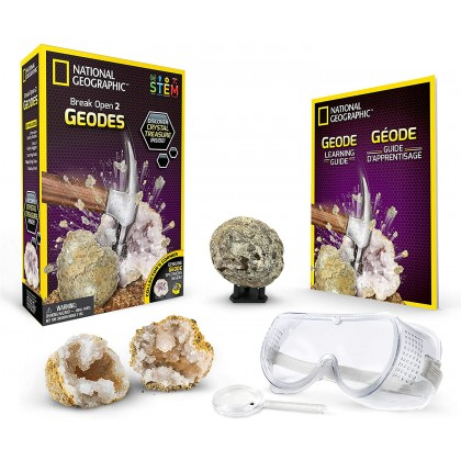 NATIONAL GEOGRAPHIC   Break Open 2 Real Geodes   STEM Scientific Educational Toys For Boys Girls Kids