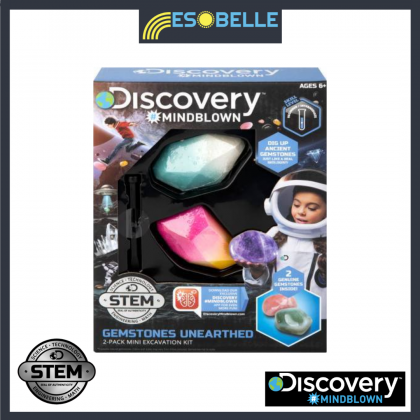 DISCOVERY MINDBLOWN  Gemstone Unearthed 2-Pack Mini Excavation Kit  STEM Science Educational Toys For Boys Girls Kids