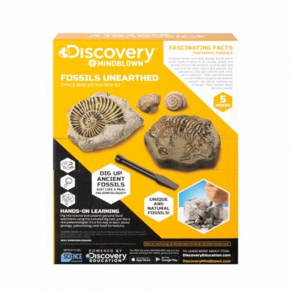 DISCOVERY MINDBLOWN  Fossils Unearthed 2-Pack Mini Excavation Kit  STEM Science Educational Toys For Boys Girls Kids