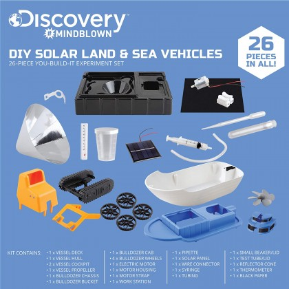 DISCOVERY MINDBLOWN  DIY Land and Sea Vehicles Solar Experiment Set  STEM Science Mechanical Educational Toys For Boys Girls Kids