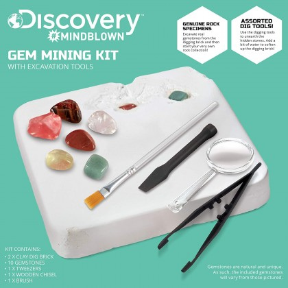 DISCOVERY MINDBLOWN  Gem Mining Kit With Excavation Tools  STEM Science Educational Toys For Boys Girls Kids