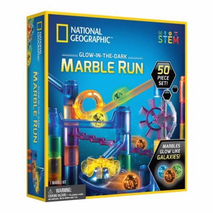 NATIONAL GEOGRAPHIC | Glow-in-the-Dark Marble Run (50 Piece Set) | STEM Scientific Educational Toys For Boys Girls Kids