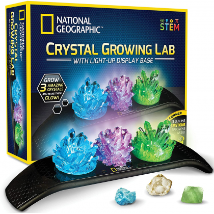 NATIONAL GEOGRAPHIC   Crystal Growing Lab With Light-Up Display Base (3 Genuine GEMSTONE Specimens Inside!)   STEM Science Educational Toys For Boys Girls Kids