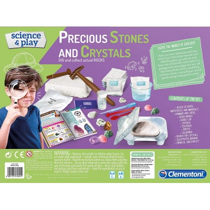 Clementoni - Precious Stones and Crystals - STEM Science Educational Toys For Boys Girls Kids
